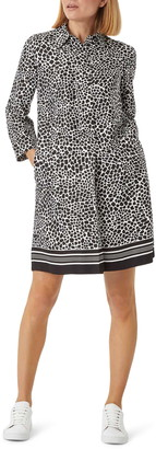 Hobbs Marci Animal Print Long Sleeve Shirtdress