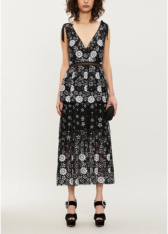 Self-Portrait V-neck sequin-embellished tulle midi dress