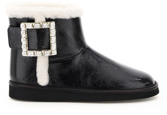 Roger Vivier Buckle Rhinestone Winter Viv Boot