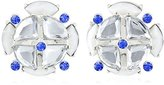 """m. haskell Fashion Jewelry """"Tribal Glam"""" Blue Multi-Faceted Stone Button Clip-On Earrings"""