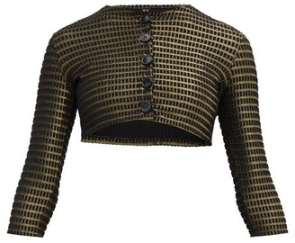 Lisa Marie Fernandez Cropped Lame Cloque Cover Up Cardigan - Womens - Black Gold