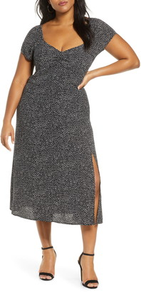 Leith Print High Slit Midi Dress
