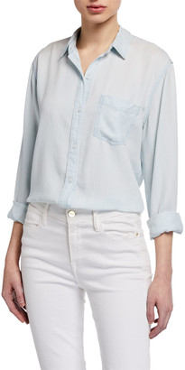 Rails Ingrid Raw-Edge Button-Front Top