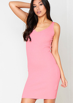 Missy Empire Kiara Pink Ribbed Detail Bodycon Dress