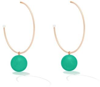 Irene Neuwirth Gumball Chrysoprase & 18kt Gold Hoop Earrings - Green