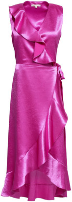 Maje Ripple Ruffled Satin Midi Wrap Dress