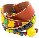 Handmade Leather and Cotton Wrap Bracelet, 'Kinich Kakmo'