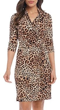 Karen Kane Cascade Leopard Print Faux Wrap Dress