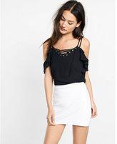 Express lace-up cold shoulder blouse