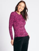 Marks and Spencer Line Floral Print Round Neck Cardigan