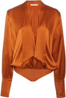 Jonathan Simkhai Tess Silk-Blend Charmeuse Wrap-Front Bodysuit