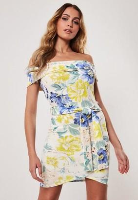 Missguided Floral Bardot Tie Waist Bodycon Mini Dress