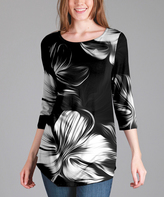 Lily Black & White Floral Three-Quarter Sleeve Tunic - Plus Too