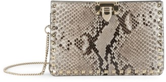 Valentino Rockstud Python-Embossed Leather Clutch