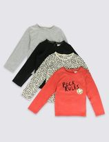 Marks and Spencer 4 Pack Rock Rules Print Tops with StayNEWTM (1-7 Years)
