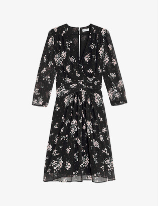Claudie Pierlot Rozen flora-print crepe midi dress