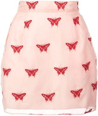 Fleur Du Mal Embroidered Mini Skirt