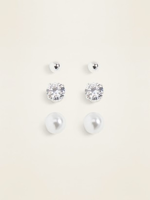 Old Navy Silver-Toned Stud Earrings 3-Pack for Women