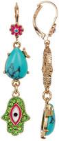 Betsey Johnson Multi Hamsa Drop Earrings