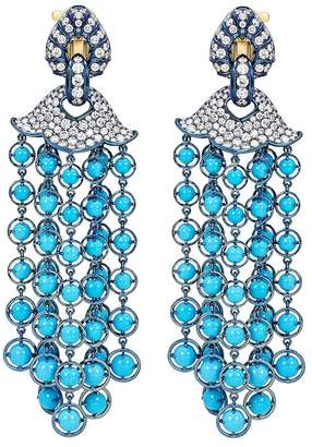 Marina B 18K Yellow Gold & Titanium Pampilles Turquoise & Diamond Chandelier Earrings