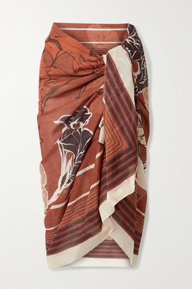 Johanna Ortiz Territorio Sagrado Printed Cotton-voile Pareo - Red