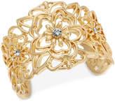 Thalia Sodi Gold-Tone Crystal Flower Filigree Cuff Bracelet, Created for Macy's