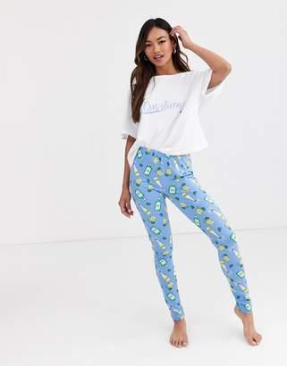 Asos Design DESIGN ginfluencer tee & legging pyjama set-Multi
