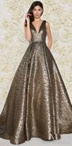 Mac Duggal Glamorous Plunging Metallic Pleated Ball Gown