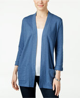 Karen Scott Petite Three-Quarter-Sleeve Cardigan, Only at Macy's