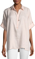 Go Silk Oversized Short-Sleeve Linen Tunic