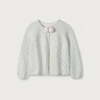 The White Company Pom-Pom Cardigan, Grey, 12-18mths