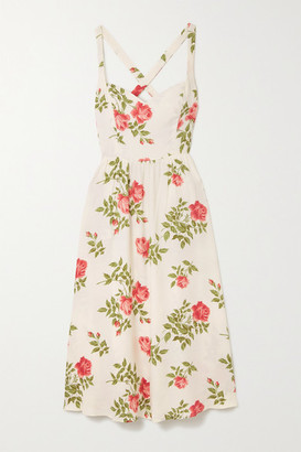 Reformation Brixton Floral-print Crepe Midi Dress - Cream