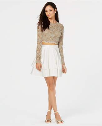 City Studios Juniors' Lace Contrast 2-Pc. Dress