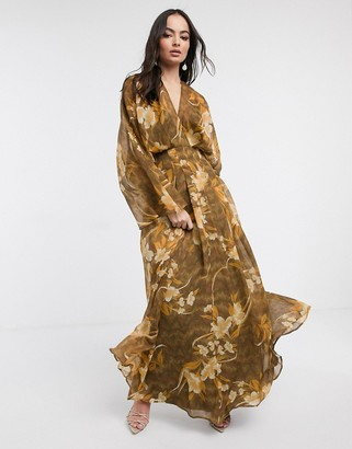 Asos DESIGN kimono sleeve maxi dress in oversized floral print