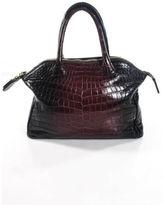 Zagliani Deep Violet Ombre Crocodile Tomodachi Small Bowling Bag