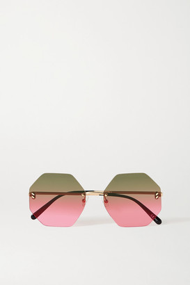 Stella McCartney Hexagon-frame Gold-tone Sunglasses