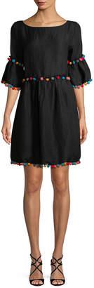1st Sight Pom-Pom Bell Sleeve Dress