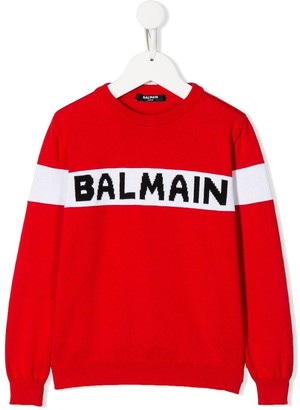 Balmain Kids Long Sleeve Knit Logo Sweater
