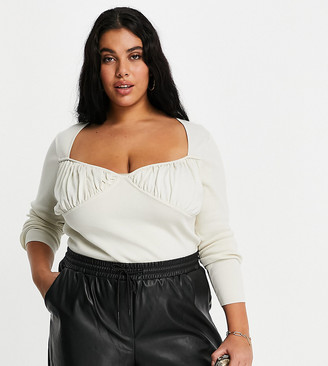 ASOS DESIGN Curve jumper with ruched cup detail in cream