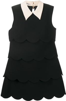 Miu Miu Scalloped Edge Tiered Shift Dress