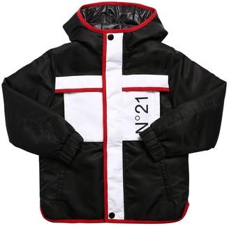 N°21 Logo Print Nylon Down Jacket