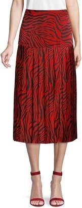 Lea & Viola Zebra-Print Midi Skirt