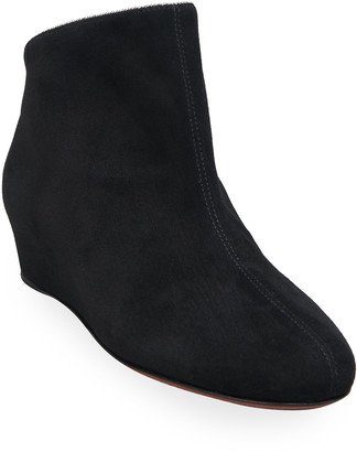 Alaia Suede Hidden Wedge Ankle Booties
