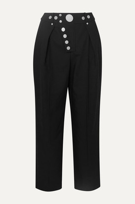 Alexander Wang Embellished Pleated Twill Straight-leg Pants - Black