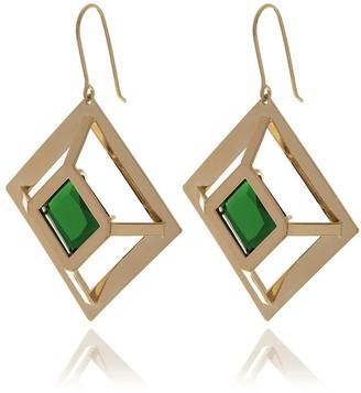 Georgina Jewelry Gold Square Emerald Crystal Earrings