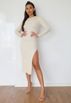Missguided Crew Neck Rib Knitted Midaxi Dress