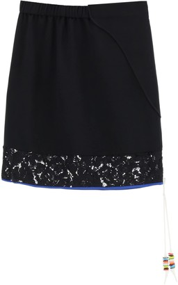 N°21 N.21 MINI SKIRT WITH LACE 38 Black, White, Blue Cotton