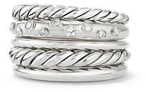 David Yurman Pure Form Wide Ring with Diamonds