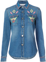 Moschino peace motif denim shirt - women - Cotton/other fibers - 40
