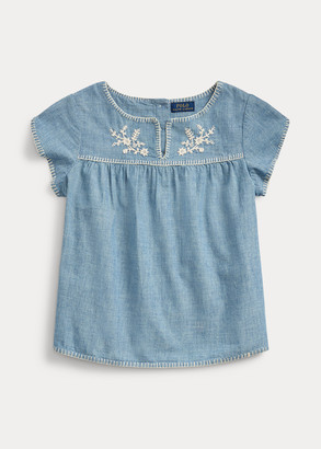 Ralph Lauren Embroidered Chambray Top